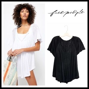 FREE PEOPLE BOHO FLOWY BLACK TUNIC TOP TEE A2C